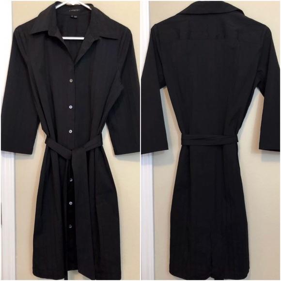 ed146bd9db0 Theory Cava Black Belted Tie-Waist Shirt Dress. M_5ab94dc0f9e5012f3dee481e